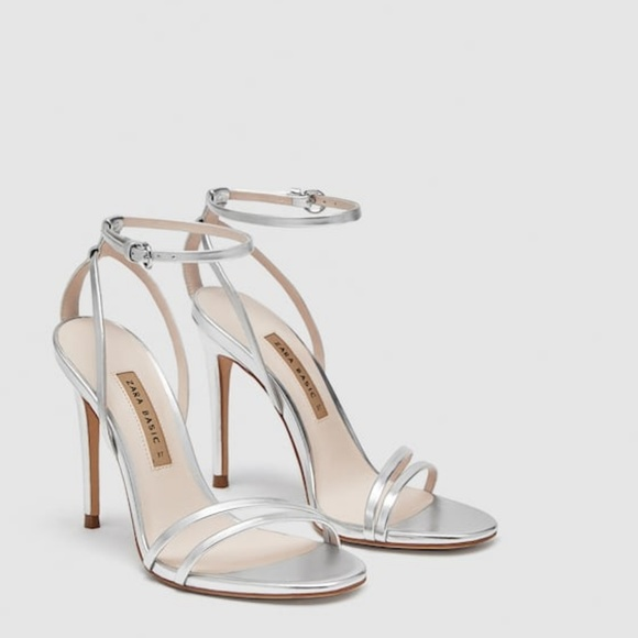 b50dcfb2a2a NWT Zara SS18 US 6 Euro 36 Silver Stiletto Sandals